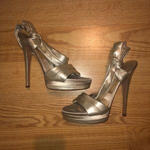 Casadei platform sandal gold stilettos size 10.